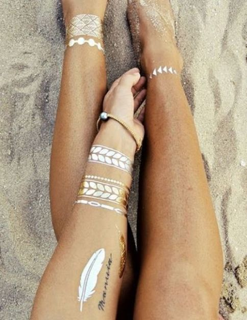 Gold metallic tattoos