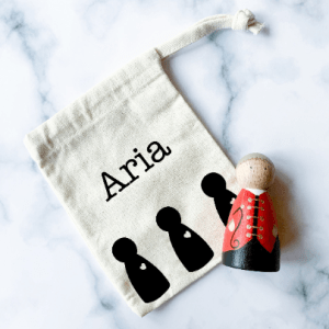 Personalised Canvas Drawstring Bag with Heart Peg Doll Design