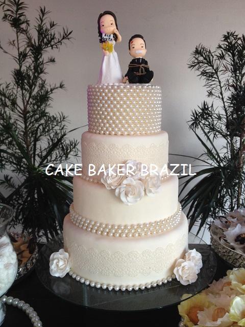 Bolo Casamento Renda E Perolas Wedding Cake Lace And