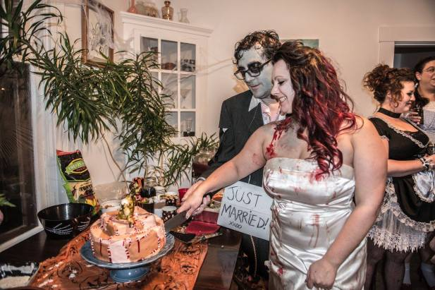 Zombie engagement Halloween party! Fun!