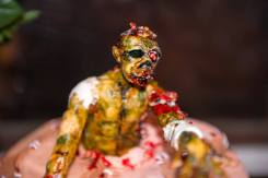 Zombie engagement party! Fun!Gluten Free Chocolate raspberry Halloween Zombie Cake.