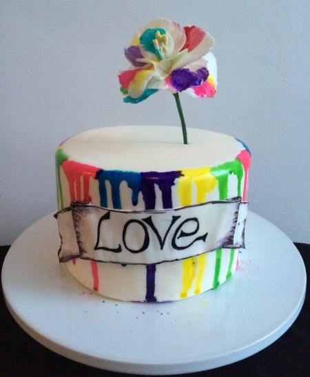 Rainbow love cake