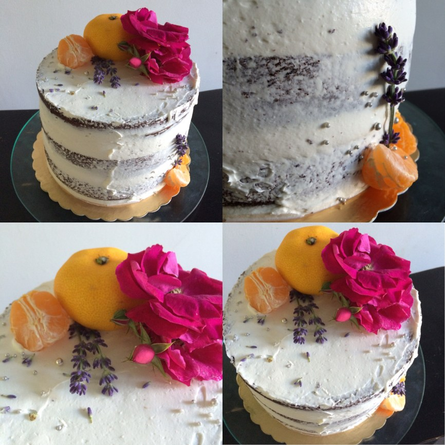 Gluten and dairy free chocolate mandarin orange brandy cake, with fresh lavender and roses
