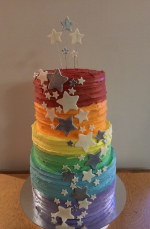 Three teared rainbow stair cake