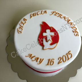 Confirmation Dove Fire Cross Cake