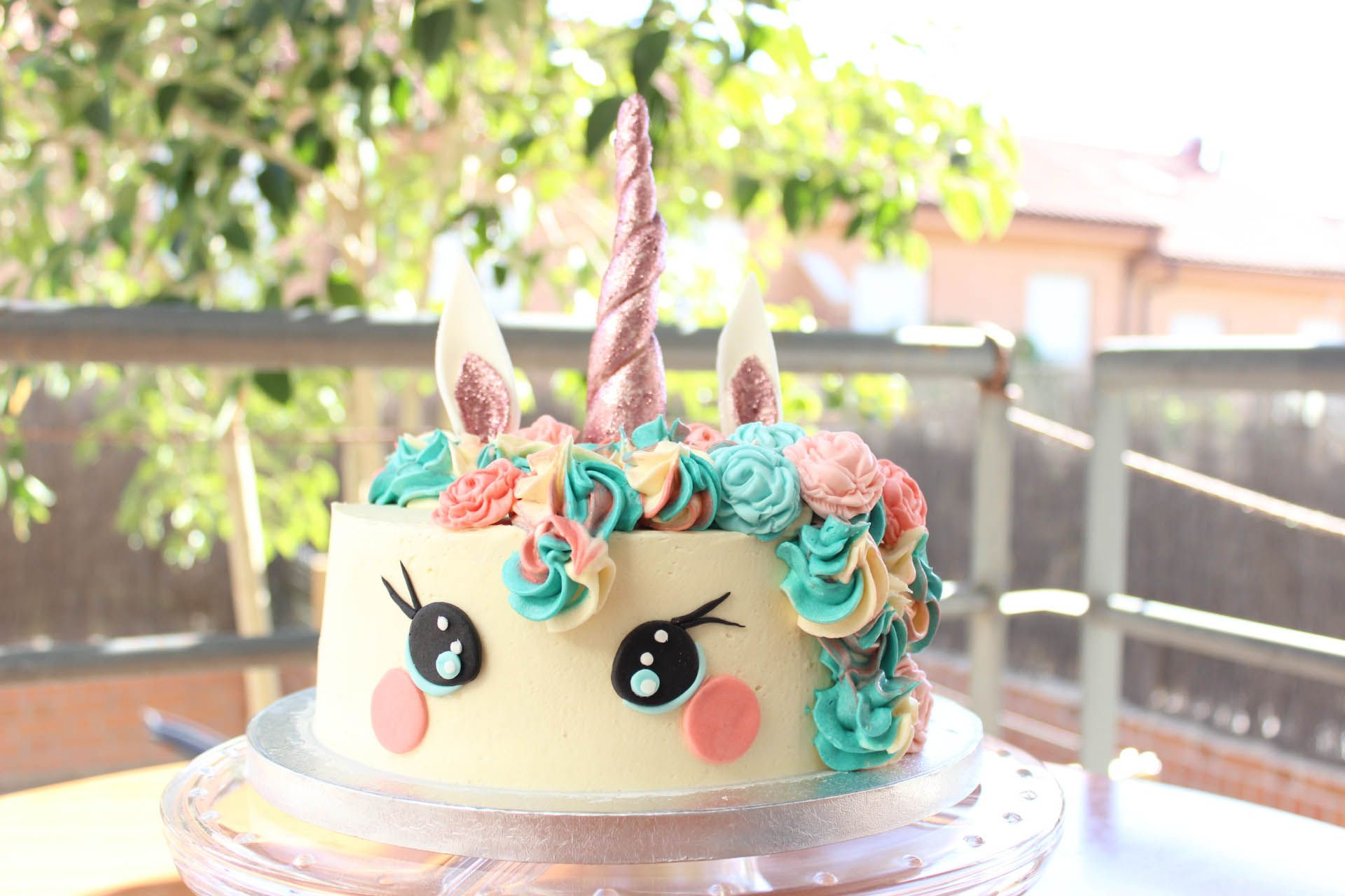Tarta unicornio rosa