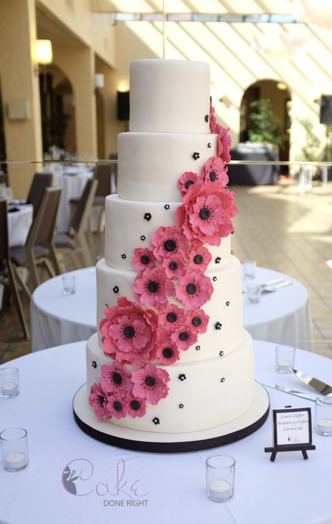 Cake Done Right Black Pink Anemone Flower Cascade - 5 tier straight WM