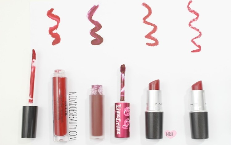 Lime Crime, MAC, Stila, Red Lips, Holiday lips, lipsticks, red lipsticks, beauty, red lipstick swatches, wicked lime crime swatch, stila beso swatch, MAC ruby woo swatch, MAC russian red swatch