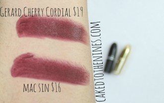 Cherry Cordial Dupe, Gerard Cosmetics dupe, Gerard Cosmetics, MAC Sin, MAC Dupe swatches, MAC dupe