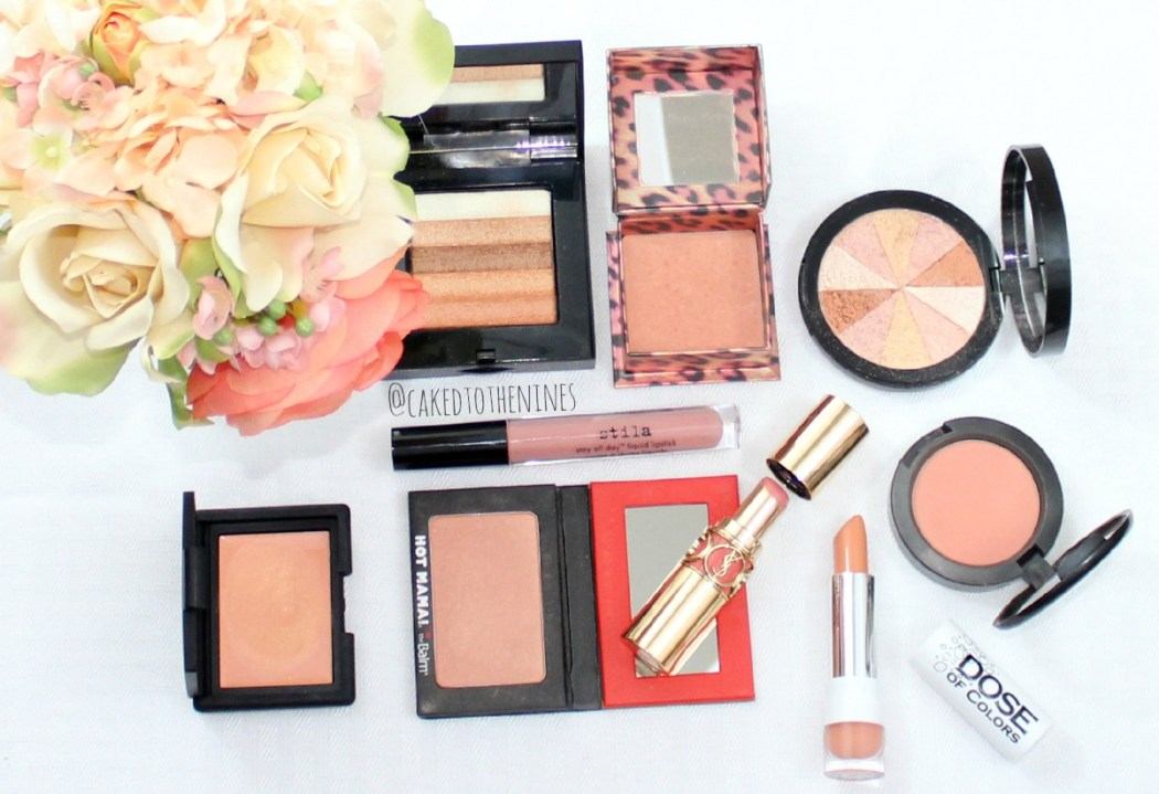 Bobbi Brown Apricot shimmer brick, Benefit Coralista, Soap & Glory Peach Party, Stila Bellissima, NARS Enchanted, The Balm Hot Mama, YSL Peach Passion, Dose of Colors Angelic, MAC Peaches, spring peach, spring makeup, spring beauty