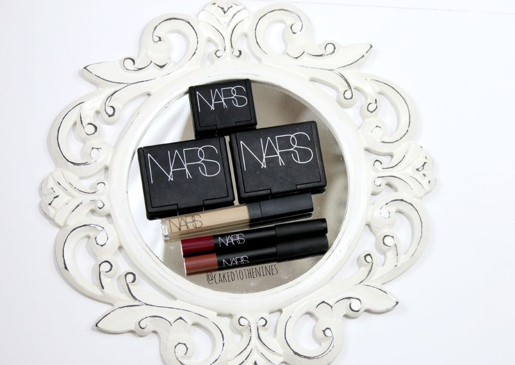 NARS holy grail makeup products, NARS Galapagos, Oasis blush, Albatross highlighter, creamy concealer custard, Damned velvet matte lip pencil, Bahama velvet matte lip pencil