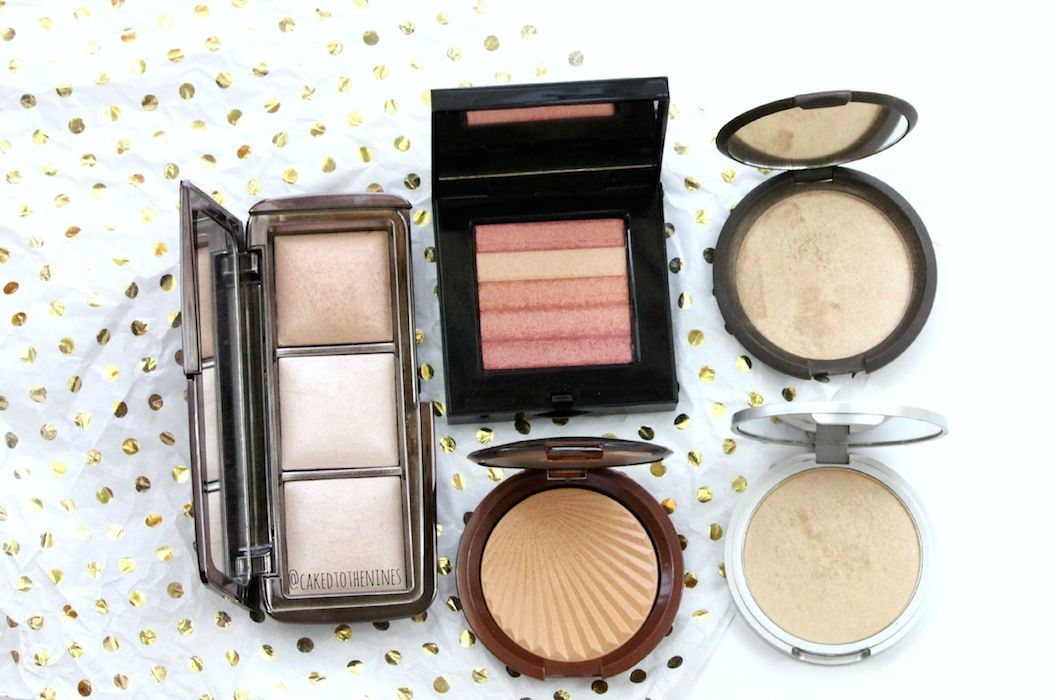 Favorite powder highlighters, Hourglass Ambient Lighting Palette, Bobbi Brown Nectar Shimmer Brick, Estee Lauder Bronze Goddess (LE) highlighter, Becca Opal, and The Balm Mary Lou-Manizer.