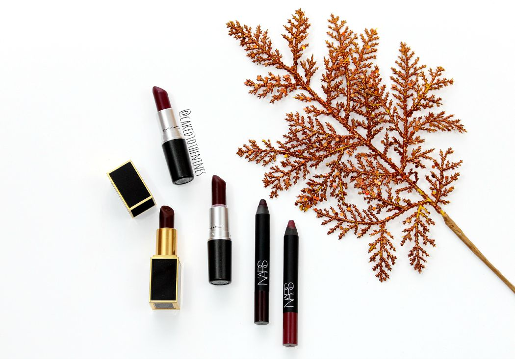 Favorite Fall Lipsticks: MAC Fashion Revival, MAC Sin, NARS Train Bleu, NARS Damned, Tom Ford Black Dahlia.