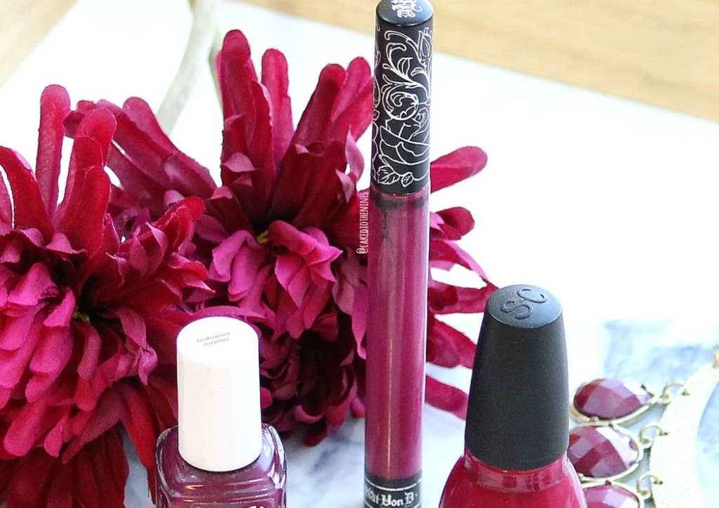 Berry toned makeup for fall, Kat Von D Bauhau5 liquid lipstick