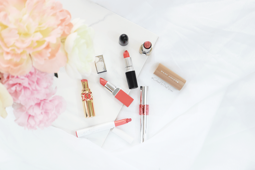 Non-matte lipsticks for spring featuring YSL Tint-in-Oil Peach Me Love, Clinique Melon Pop, MAC Razzledazzler, Marc Jacobs Understudy, YSL Peach Passion, ColourPop Crunch