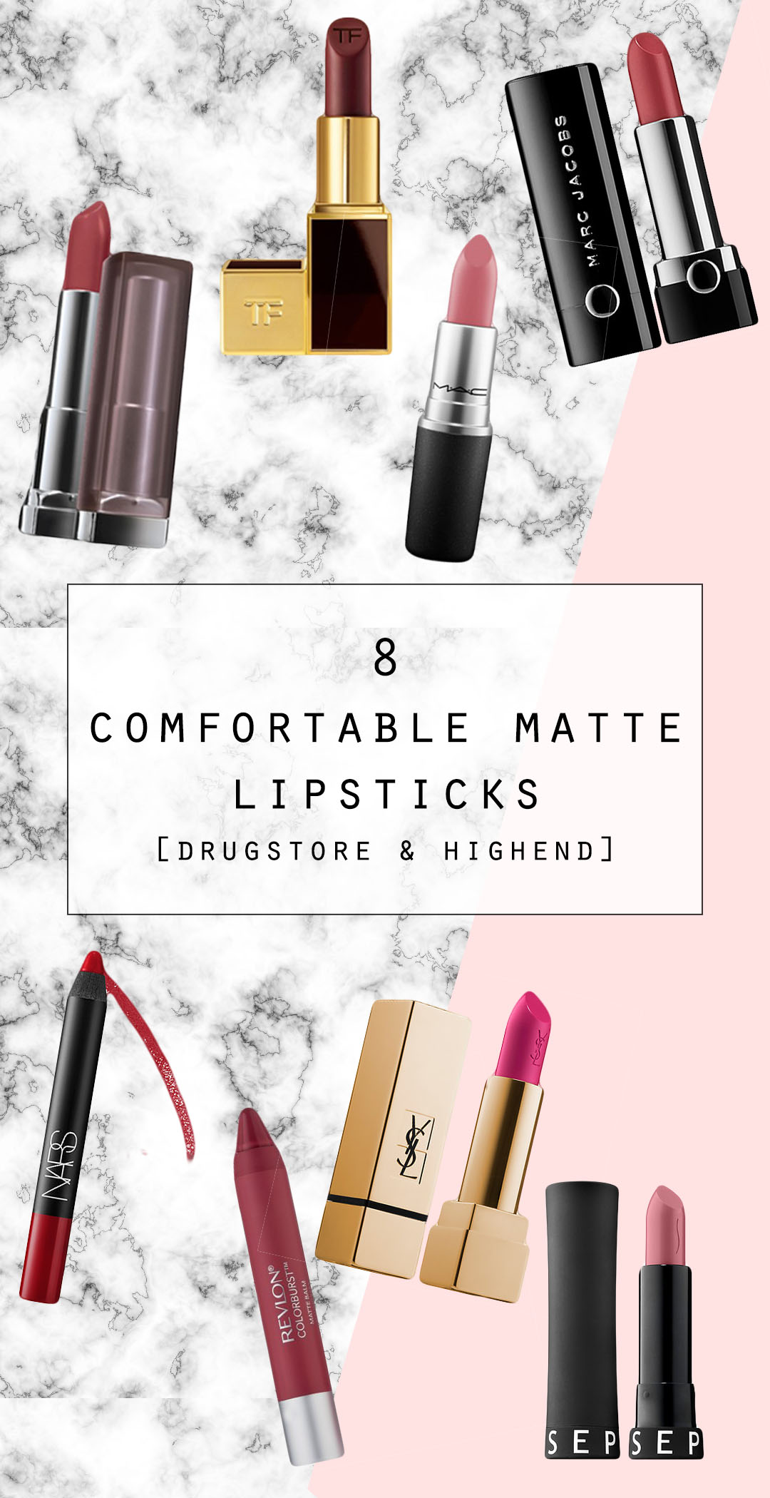 8 Comfortable Matte Lipsticks drugstore and highend