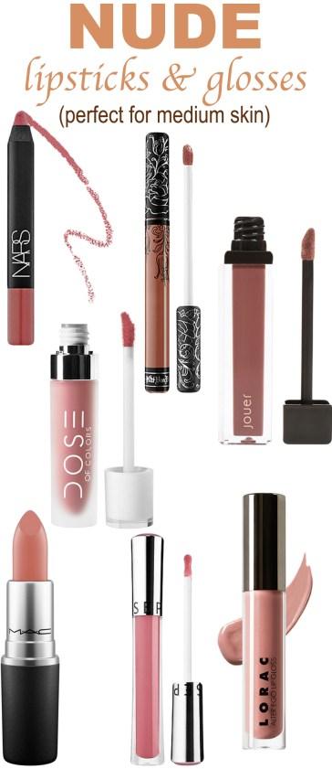 Go to nude lipsticks and glosses for medium skin tones