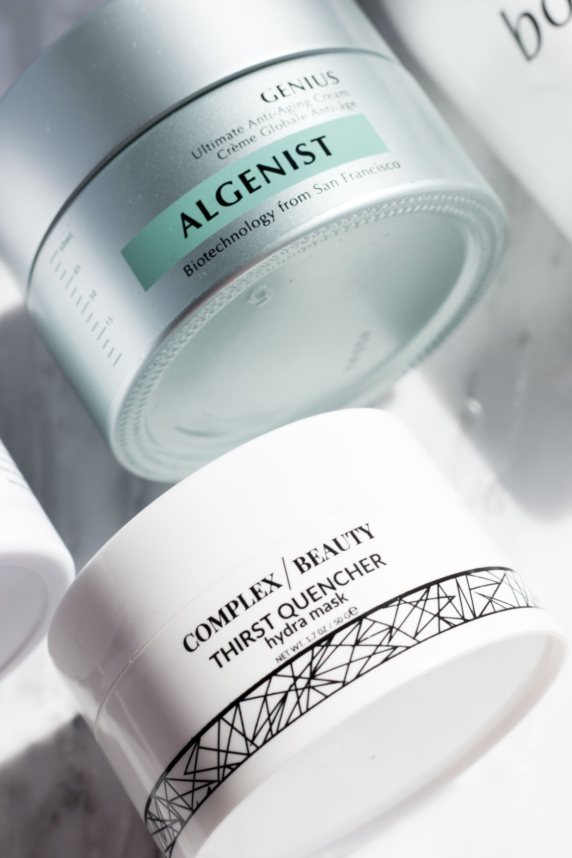 Complex Beauty Thirst Quencher hydra mask; Algenist Genius cream