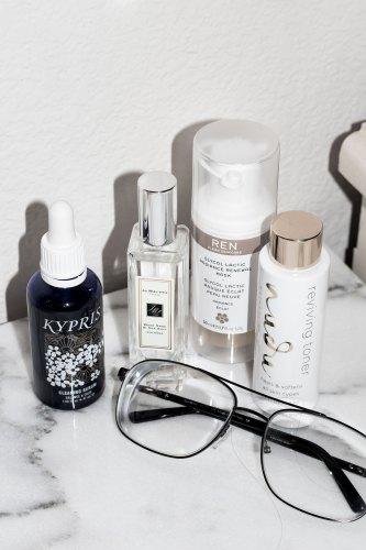 Kypris clearing serum; Jo Malone Wood Sage and Sea Salt cologne; Ren Glycol Lactic Radiance Renewal Mask; Nudu Reviving Toner
