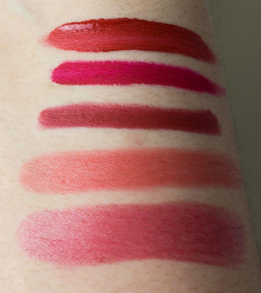 5 red lipsticks for the holidays top to bottom: MAC Feels So Grand, Jouer Fraise Bonbon, NARS Cruella, Glossier Gen G Zip, YSL Rouge in Danger #4