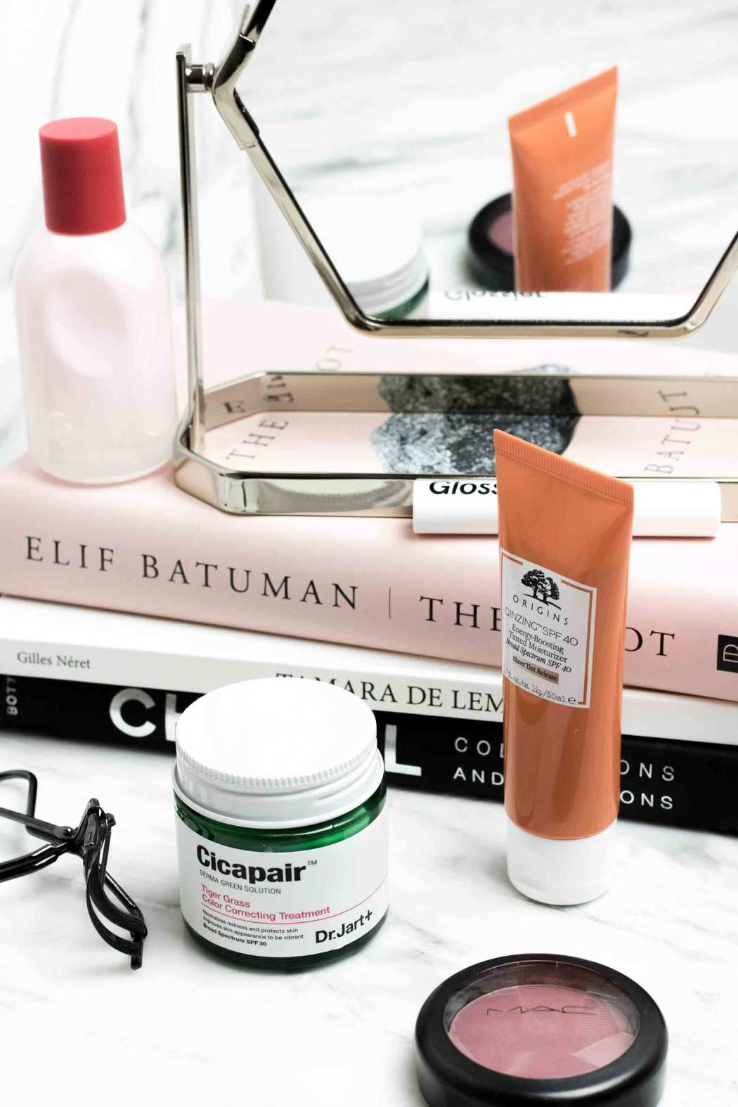 Beauty products I'm loving | Origins Tinted Moisturizer, Dr. Jart Cicapair Color Treatment, Glossier Like, Glossier You, MAC Breath of Plum