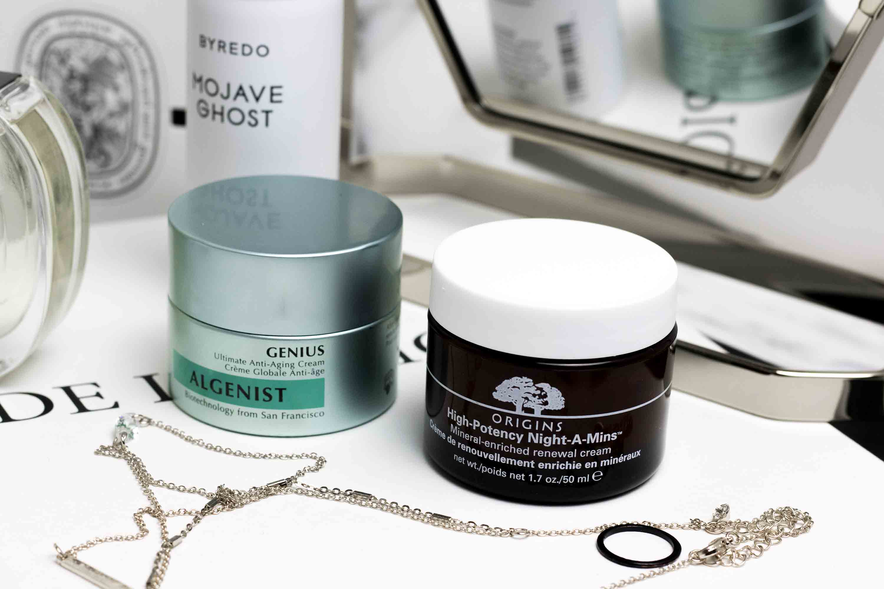 Origins Night-A-Mins and Algenist Genius Moisturizer
