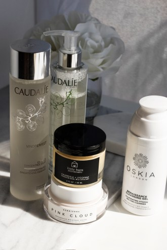 Caudalie essence, caudalie micellar water, Herbivore pink cloud, Little Barn Apothecary face mask, Oskia Renaissance Cleansing Gel