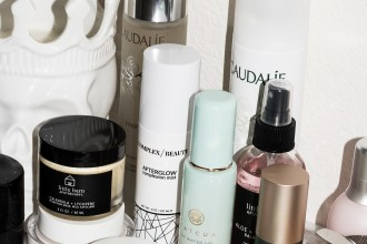 Caudalie essence, complex beauty afterglow, tatcha water cream, tatcha water gel, saturday skin eye cream, biossance eye gel, boscia, little barn apothecary rosewater balancing mist