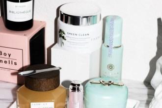 Tatcha Water Cream, Tatcha Water Gel, Farmacy Honey Potion Mask, Farmacy Green Clean cleansing balm, Dior Matte Raspberry lipstick