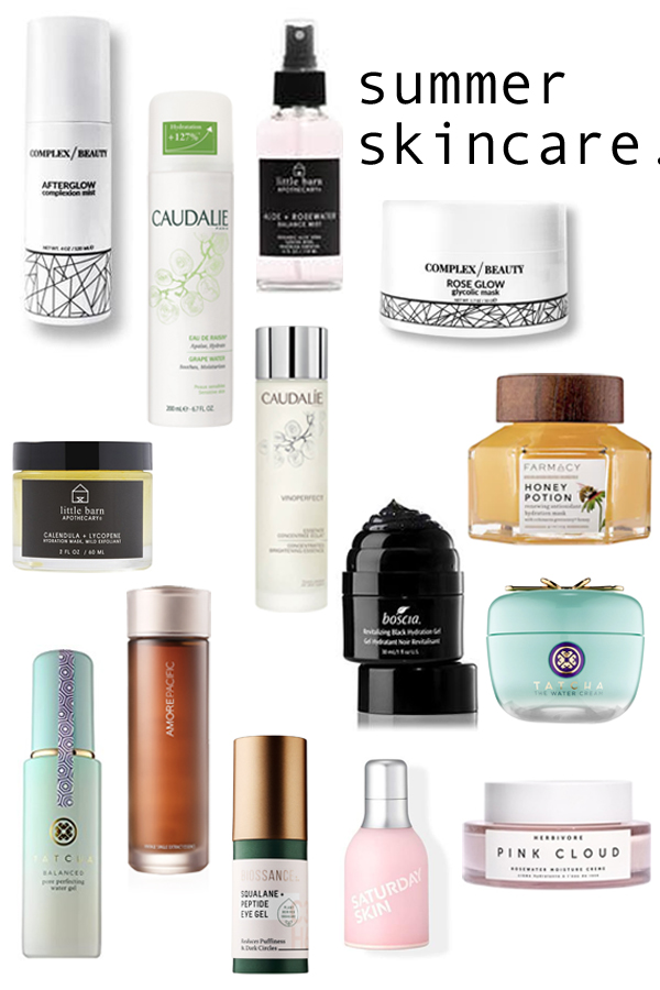 summer skincare products featuring gel moisturizers, essences, lightweight face masks, resurfacing products