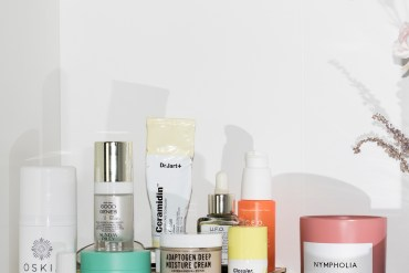 skincare shelfie featuring drunk elephant protini, glossier spf, YTTP adaptogen cream, and more