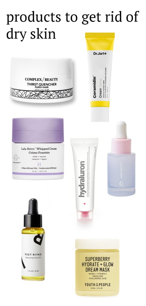 Products that will help you get rid of dry skin featuring moisturizers, sleeping masks, face oils, and serums