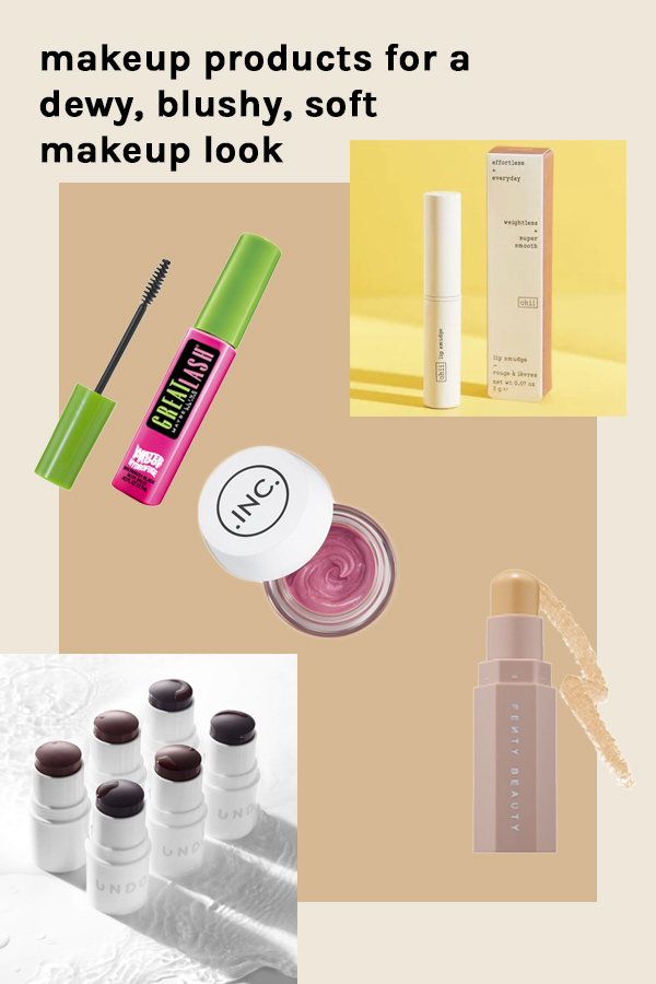 Products for a soft, dewy, blushy, natural makeup look