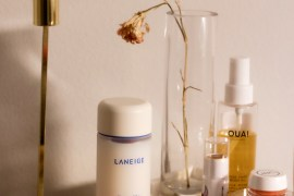 A picture of the laneige cream skin toner and moisturizer on vanity featuring a review of the product