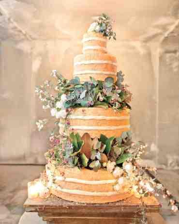 Naked Wedding cake with Greenery