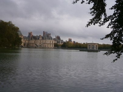 View across the carp pond with the pavilion