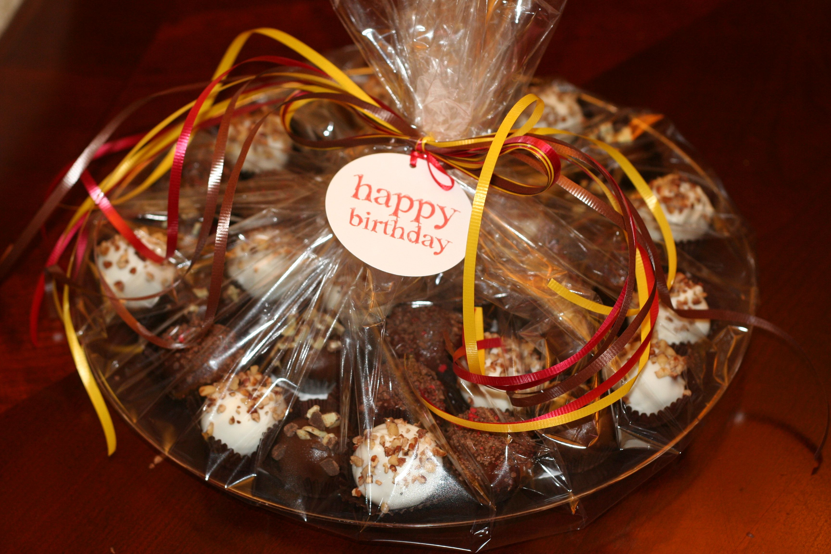 Occassion tags are available to accent party platters, cake ball boxes by the dozen or cake pop baskets. Available in different colors for Happy Birthday, Get Well Soon, Just Bacuase or Thank You!