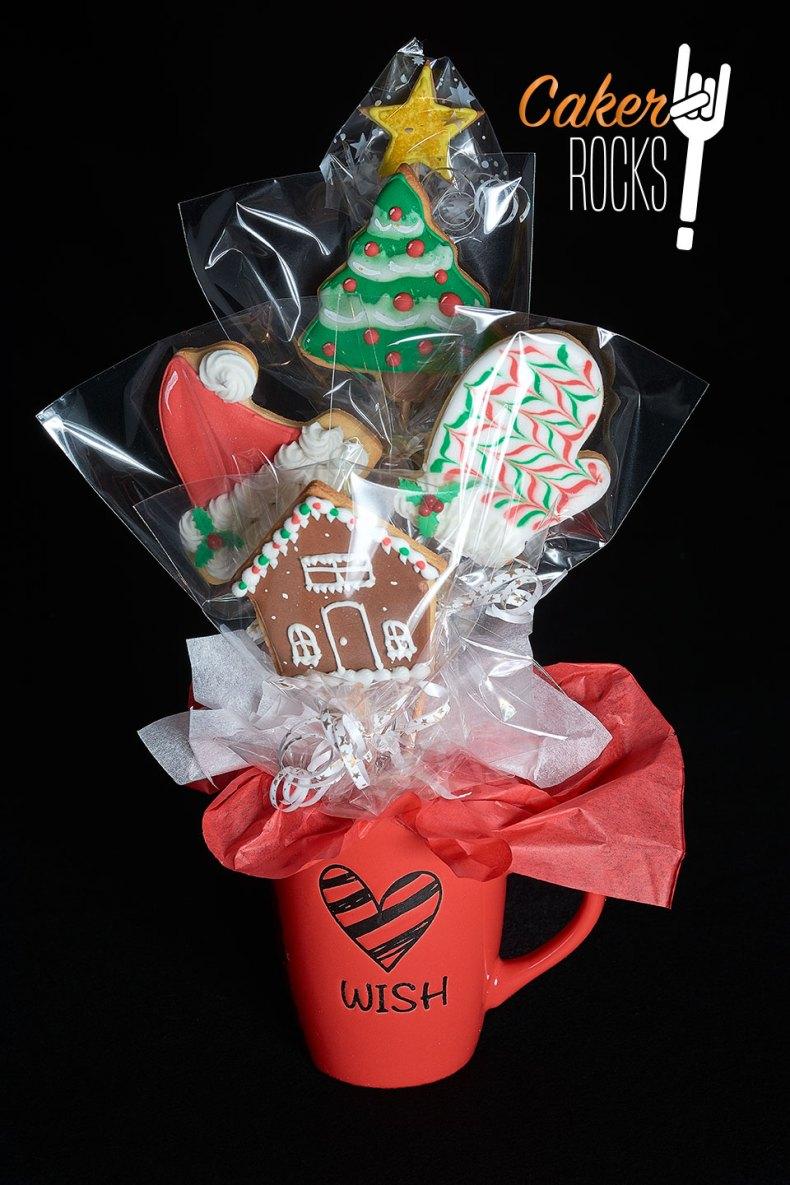 Arreglo navideño galletas pequeño y taza