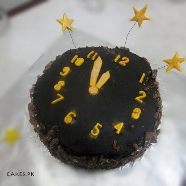 New years clock cake