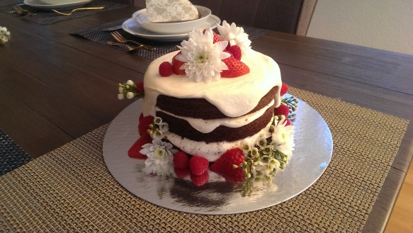Naked Red Velvet Cake with amaretto cream cheese filling