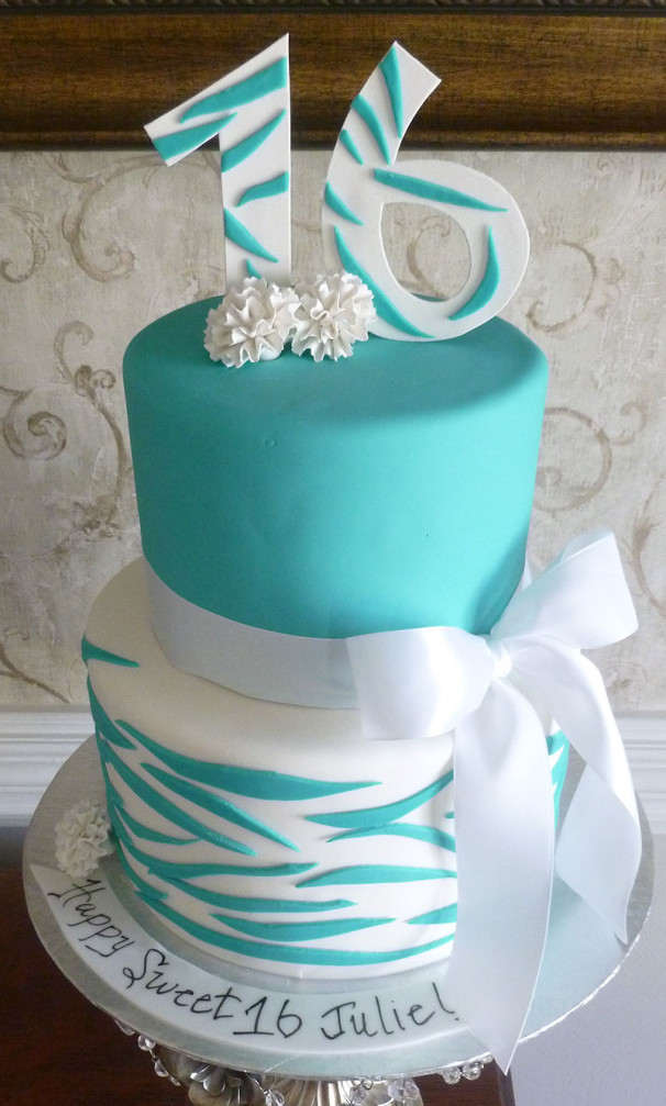 Teal Zebra Sweet 16 Cakes By Crystal