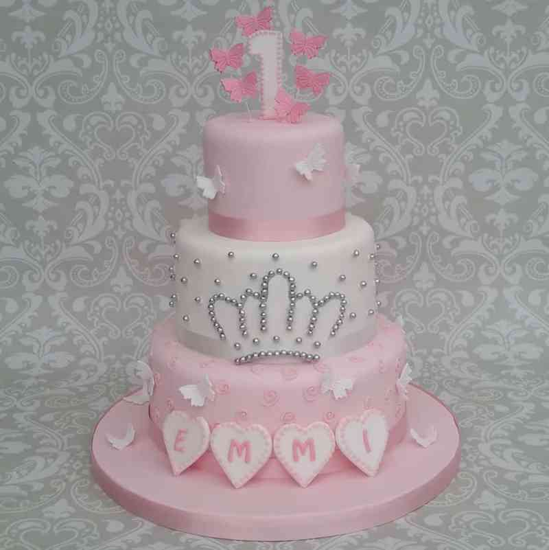 O Excellent Girls Pink Name Birthday Cakes