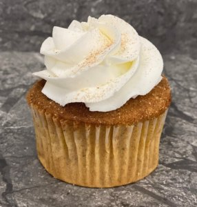 Spice cupcake with white frosting