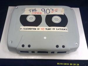 Sculpted cassette tape cake