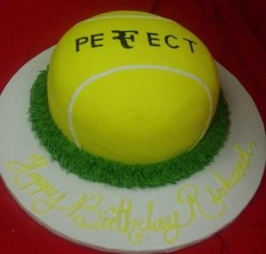 Sculpted tennis ball cake