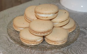 Plate of white Macarons