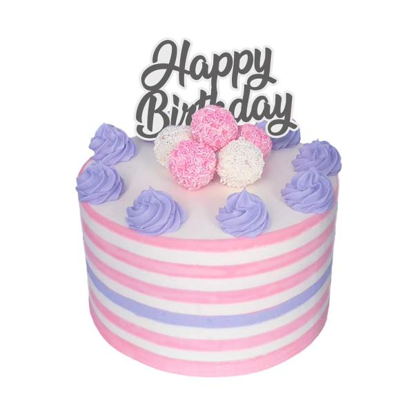 Pink, White, and Purple Cake with Purpel and, Pink and White Cake pops on top