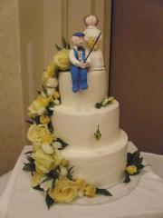 floral wedding fishing groom