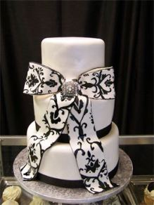 hand painted, Damask, ribbon, brooch, wedding black and white, large bow