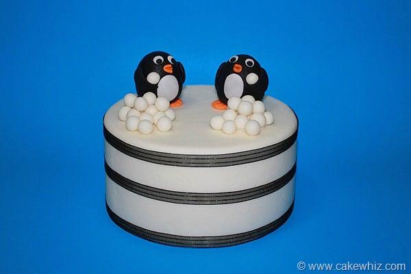 Winter Cake With Fondant Penguin Topper